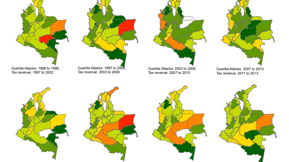 Maps of colombia displaying departments across time with different colorings