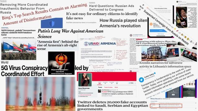 collage of disinformation headlines