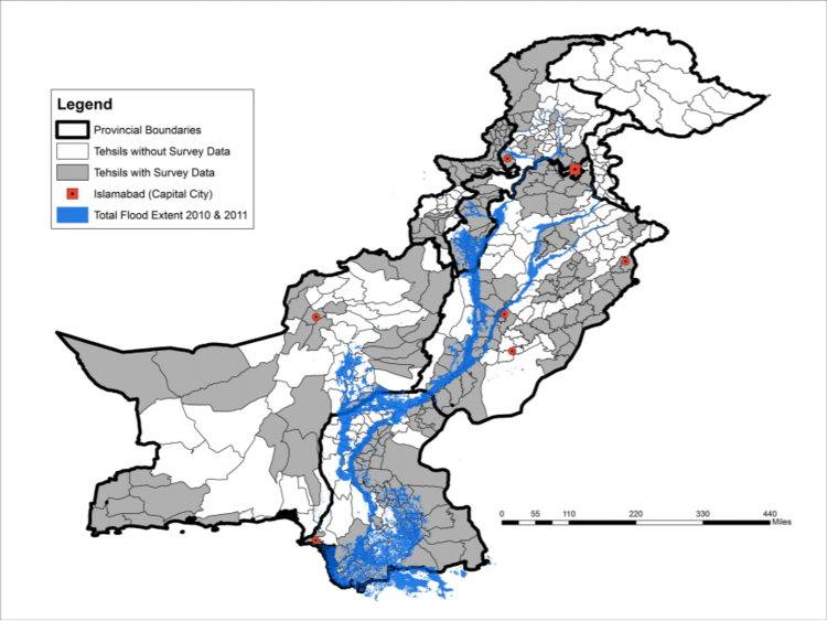 A map of flooding in Pakistan